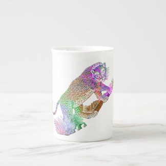 Colorful Watercolor Leopard Artistic Draw Tea Cup