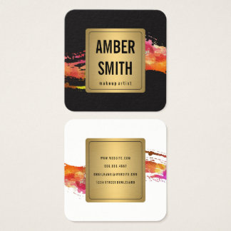 Colorful Watercolor Paint Brushed Gold Faux Label Square Business Card