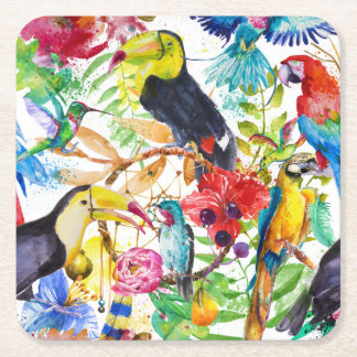 Colorful Watercolor Parrots 2 Square Paper Coaster