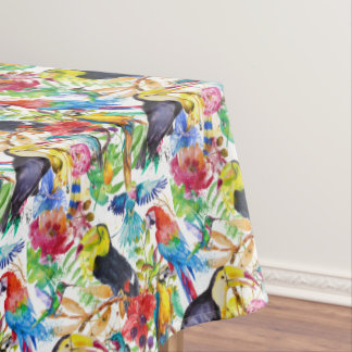 Colorful Watercolor Parrots 2 Tablecloth