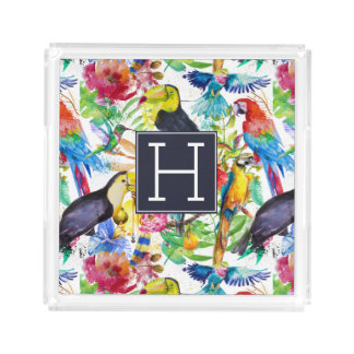 Colorful Watercolor Parrots | Add Your Initial