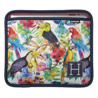 Colorful Watercolor Parrots | Add Your Initial iPad Sleeve