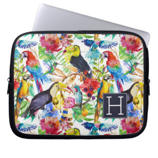 Colorful Watercolor Parrots | Add Your Initial Laptop Sleeves