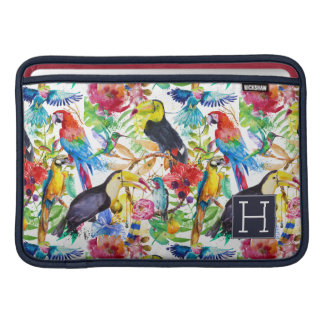 Colorful Watercolor Parrots | Add Your Initial MacBook Sleeve
