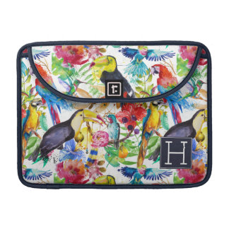 Colorful Watercolor Parrots | Add Your Initial Sleeve For MacBook Pro
