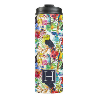 Colorful Watercolor Parrots   Add Your Initial Thermal Tumbler