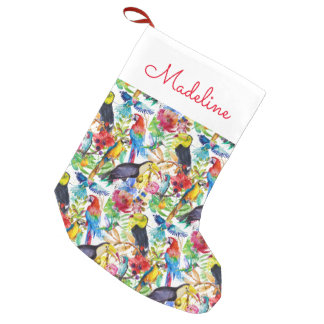 Colorful Watercolor Parrots | Add Your Name Small Christmas Stocking