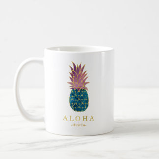 Colorful Watercolor Pineapple and Gold Aloha Coffee Mug