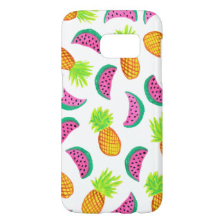 colorful watercolor pineapple watermelon pattern