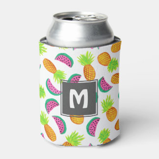 colorful watercolor pineapple watermelon pattern can cooler