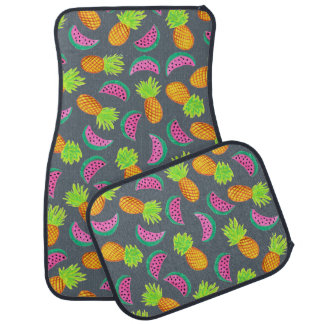 colorful watercolor pineapple watermelon pattern car mat