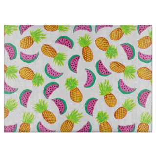 colorful watercolor pineapple watermelon pattern cutting board
