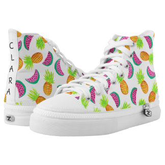 colorful watercolor pineapple watermelon pattern high tops