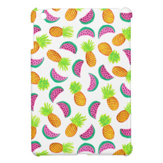 colorful watercolor pineapple watermelon pattern iPad mini cases