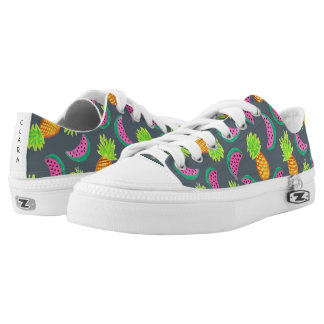 colorful watercolor pineapple watermelon pattern low tops