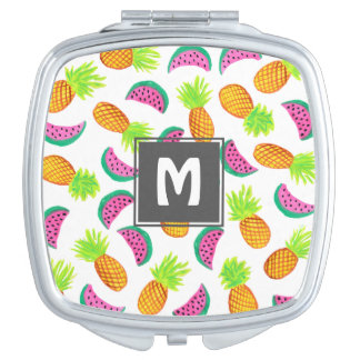 colorful watercolor pineapple watermelon pattern makeup mirror