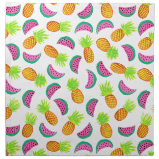 colorful watercolor pineapple watermelon pattern napkin