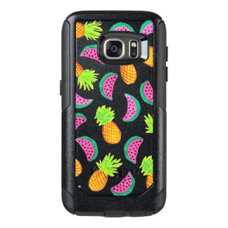 colorful watercolor pineapple watermelon pattern OtterBox samsung galaxy s7 case