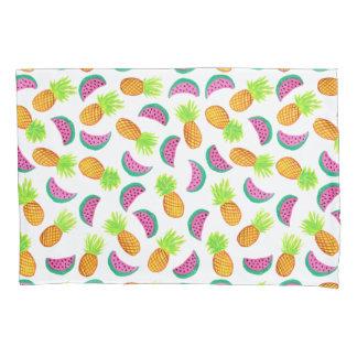 colorful watercolor pineapple watermelon pattern pillowcase
