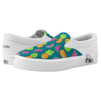 colorful watercolor pineapple watermelon pattern slip on shoes