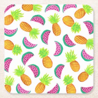 colorful watercolor pineapple watermelon pattern square paper coaster