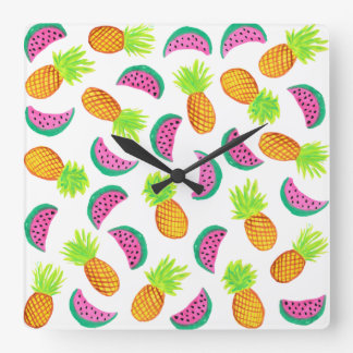 colorful watercolor pineapple watermelon pattern square wall clock