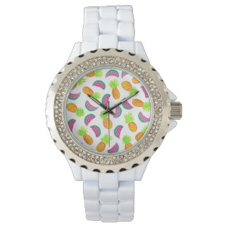 colorful watercolor pineapple watermelon pattern watch