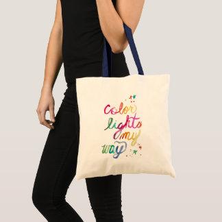 Colorful Watercolor Rainbow Brush Script Artistic Tote Bag