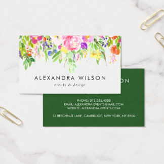 Colorful Watercolor Spring Blooms Business Card
