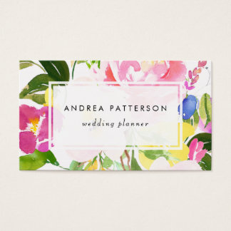 Colorful Watercolor Spring Blooms Floral Business Card