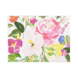 Colorful Watercolor Spring Blooms Floral Doormat