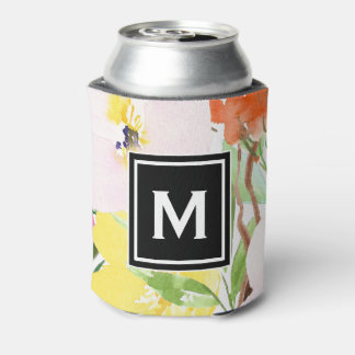 Colorful Watercolor Spring Blooms Floral Monogram Can Cooler