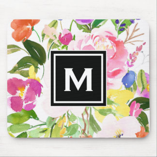 Colorful Watercolor Spring Blooms Floral Monogram Mouse Pad