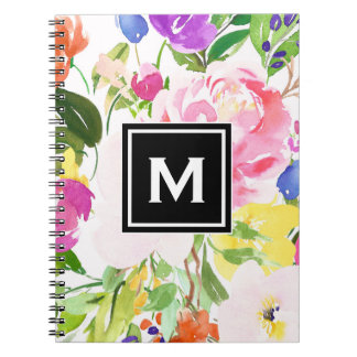 Colorful Watercolor Spring Blooms Floral Monogram Notebooks
