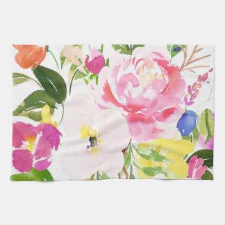 Colorful Watercolor Spring Blooms Floral Tea Towel