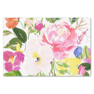 Colorful Watercolor Spring Blooms Floral Tissue Paper