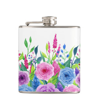 Colorful Watercolor Spring Flowers Hip Flask