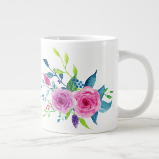 Colorful Watercolor Spring Flowers Large Coffee Mug