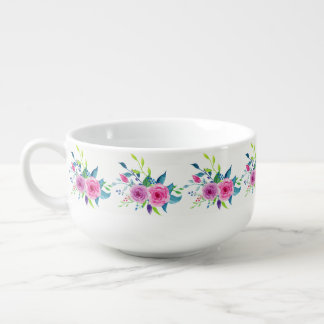 Colorful Watercolor Spring Flowers Soup Mug