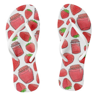 Colorful watercolor strawberries & jams flip flops thongs