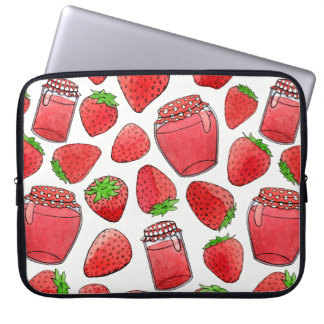 Colorful watercolor strawberries & jams laptop sleeve