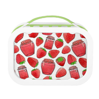 Colorful watercolor strawberries & jams lunch box