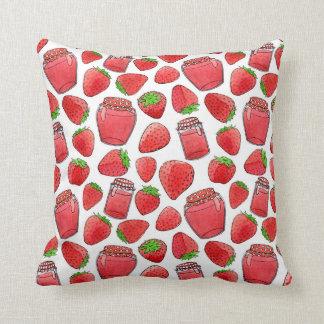 Colorful watercolor strawberries & jams pillow