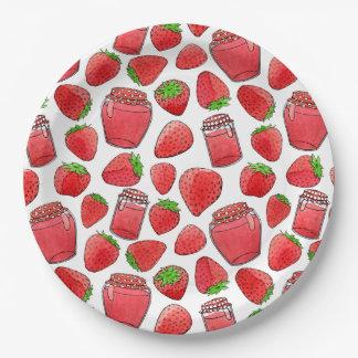 Colorful watercolor strawberries & jams plate