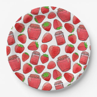 Colorful watercolor strawberries & jams plate 9 inch paper plate
