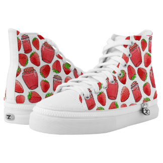 Colorful watercolor strawberries & jams printed shoes
