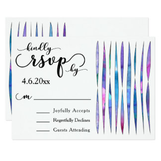 Colorful Watercolor Streamers, Modern Wedding RSVP Card