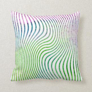Colorful watercolor stripe swirl cushion