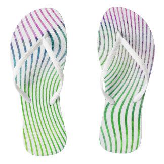 Colorful watercolor stripe swirl thongs