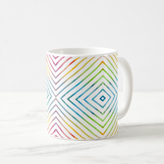 Colorful watercolor striped geometric coffee mug
